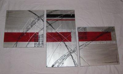 triptyque argent et rouge ev 39 art peinture contemporaine. Black Bedroom Furniture Sets. Home Design Ideas