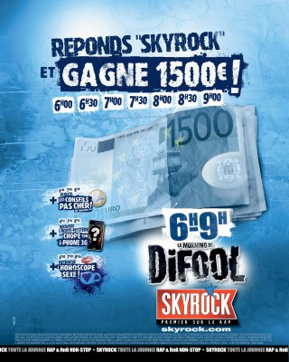 Les 1500 euros tombent chaque matin sur Skyrock!