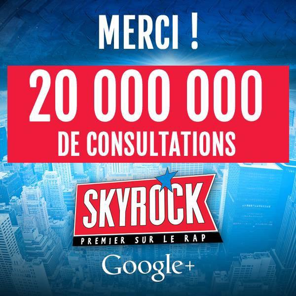 + de 20 000 000 de consultations sur notre page G+ = 1�re page Radio