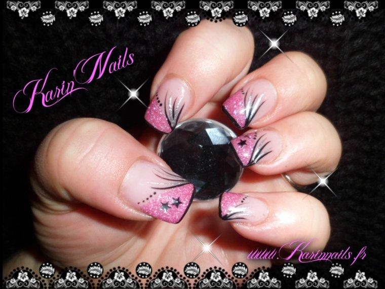 deco ongle noir rose