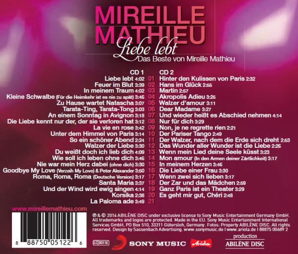"""Titelliste   zu """" Liebe lebt """"      2 CD´ s von Mireille"""