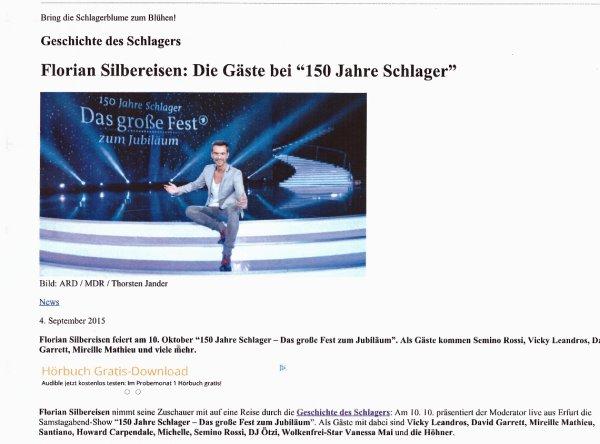 Mireille   am 10.10.2015 zu Gast bei Florian Silbereisen