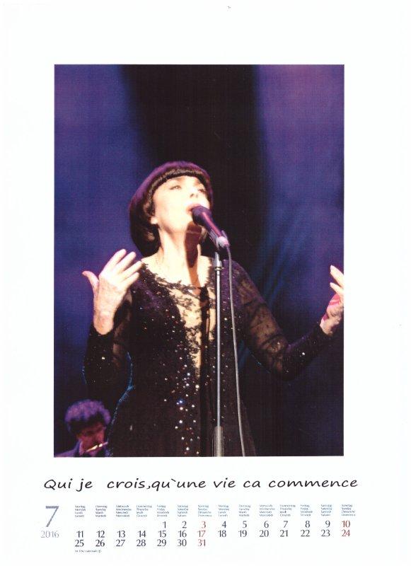 Kalender Mireille Mathieu  Juli 2016
