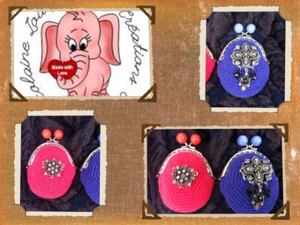 Portes monnaies vintage en coton au crochet