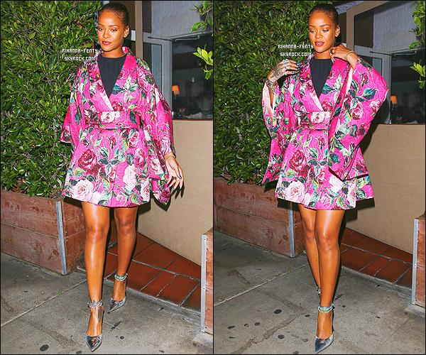 ' 09/06/16 - Rihanna a �t� aper�ue alors qu'elle quittait son restaurant favoris le � Giorgio Baldi � � Los Angeles.  Apr�s une semaine de vacance Rihanna F est de retour � Los Angeles et tr�s bientot elle s'envolera pour Amsterdam pour son premier concert ! '