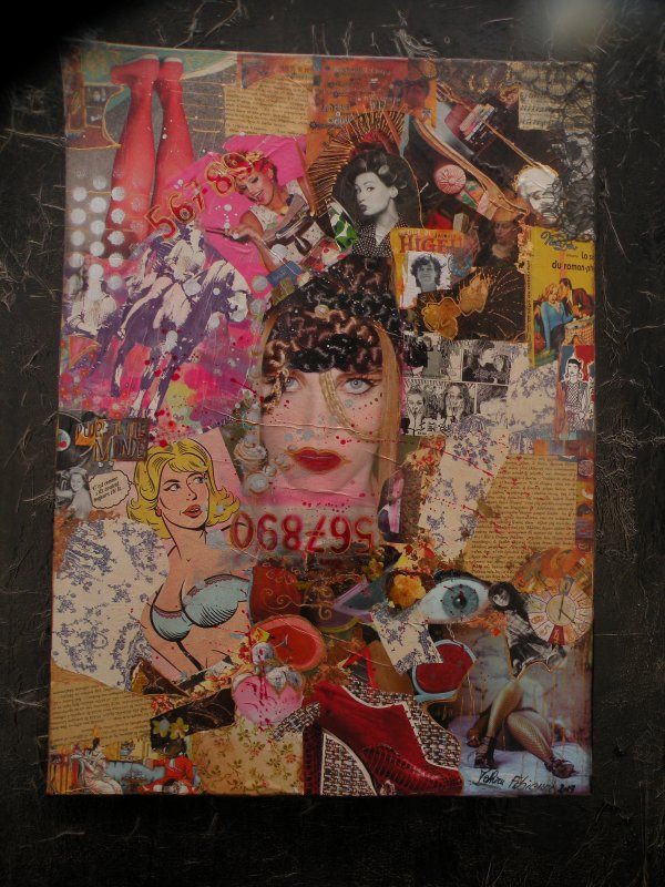 Collages sur toiles,sur bois,techniques mixtes,r�tro/vintage