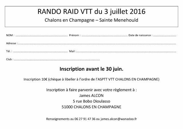 bulletin inscription raid Vtt 03.07.2016