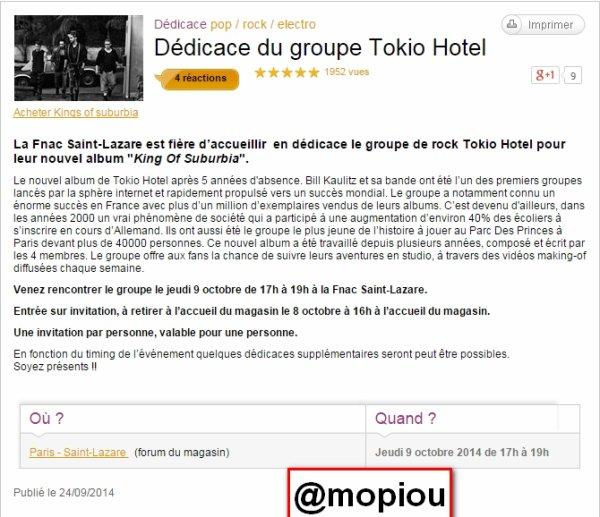 Tokio Hotel en d�dicace � la Fnac Saint-Lazare. TH. Paris. 09.10.2014