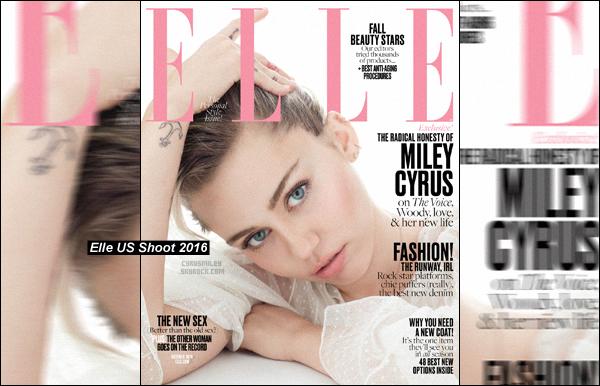- D�couvrez des nouvelles photos de Miley Cyrus, en couverture pour septembre du magazine � Elle US�.  Notre belle Miley a pu y accorder une interview pour le magazine o� elle parle de The Voice, et du r�le qu'elle jouera dans une s�rie. -