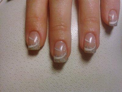 Paillette champagne blanc et deco blanche creation ongle 100 gel - Deco ongle paillette ...