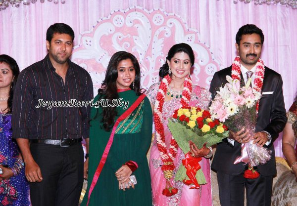 Jeyam Ravi and wife @ Sneha wedding Reception