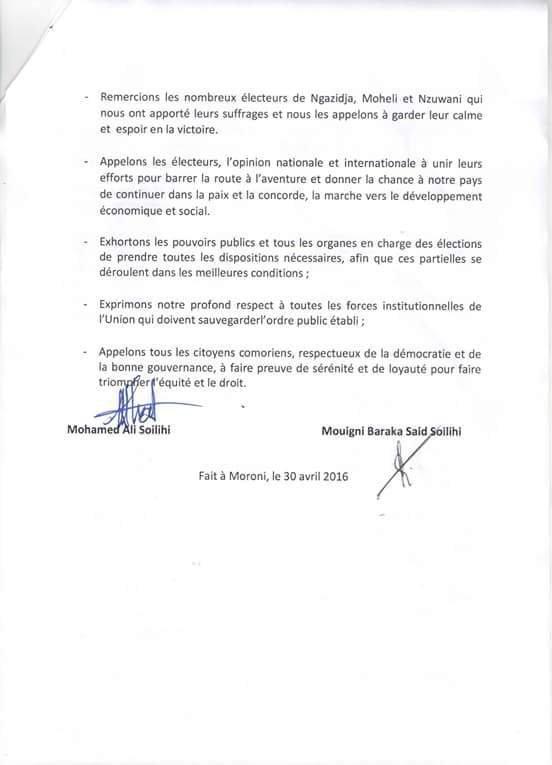 D�claration commune entre Mouigni Baraka Said Soilih et Mohamed Ali Soilih alias Mamadou