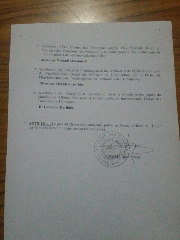 Premier Gouvernement du Pr�sident Azali Assoumani