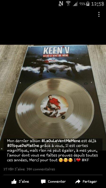"""Keen'v est disque de platine avec """" La Ou Le Vent Me Mene""""!!"""