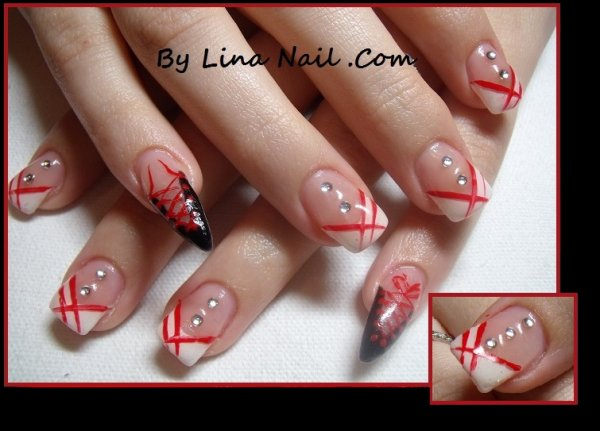 Pose complet gel, stiletto lacet, liner rouge, strass