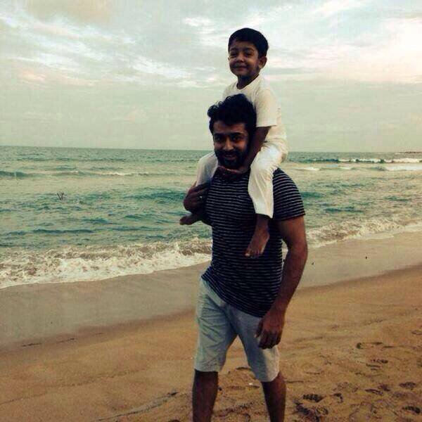 Surya with his son Dev @ Beach Latest Rare/unseen - Dev ...