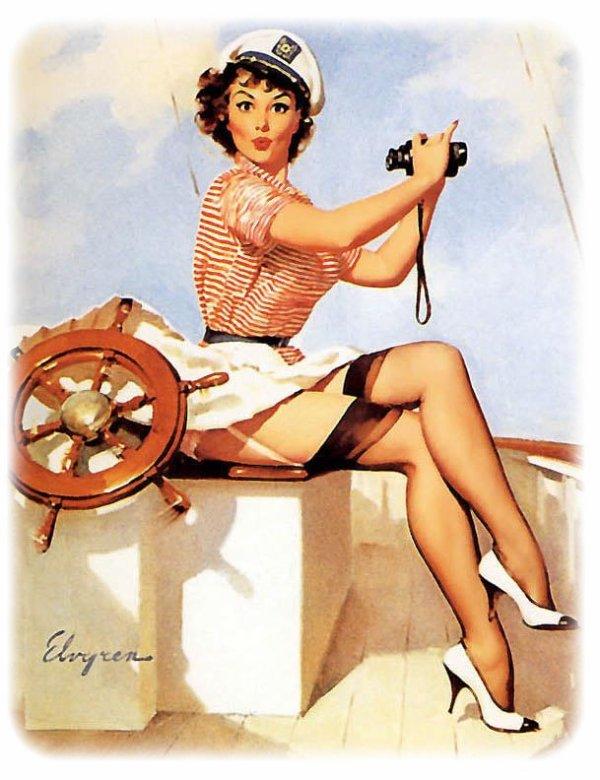 """Des pin-ups d'ELVGREN pour mon thème """" Costume marin""""."""