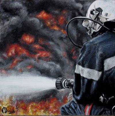 pompier 1 - art graphique, peintures, portraits de stars et...