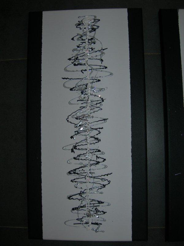 Tableau triptyque abstrait chevaux noir blanc gris dimensions 2x20x40cm - Tableau gris et blanc ...