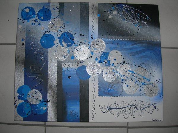 Tableau abstrait noir bleu gris blanc dimensions 50x60cm for Tableau bleu et gris