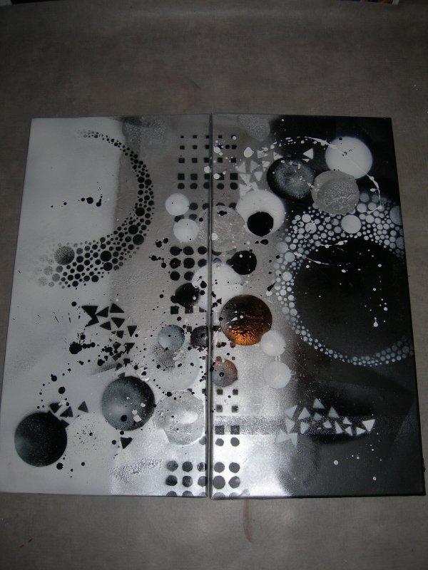 Tableau abstrait noir blanc gris dimensions 2x30x60cm for Tableau noir et blanc moderne