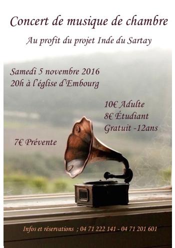 Le projet-Inde-Sartay organise son deuxi�me concert classique! Bienvenue � tous!