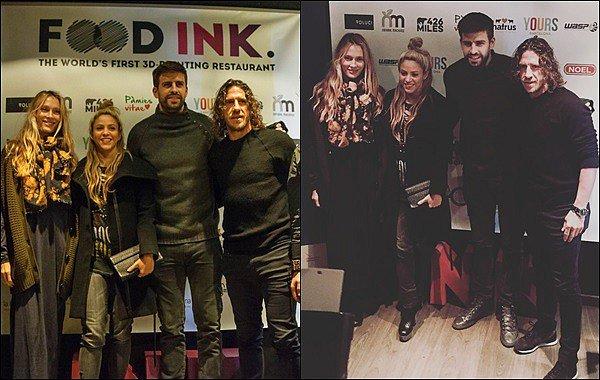 8 décembre 2016 : Shakira et Gerard sont allés manger dans le restaurant FOOD INK à Barcelone S. était mignonne, j'aime assez son petit chignon et décidément elle adore ce tee shirt ! Elle n'arrête pas de le porter x)