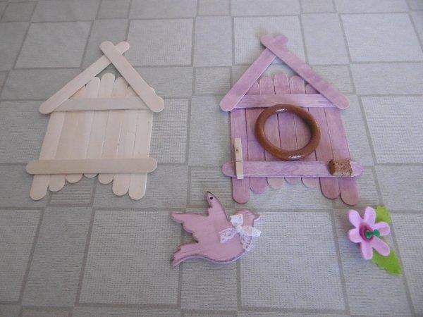 Un nichoir avec des b�tonnets en bois