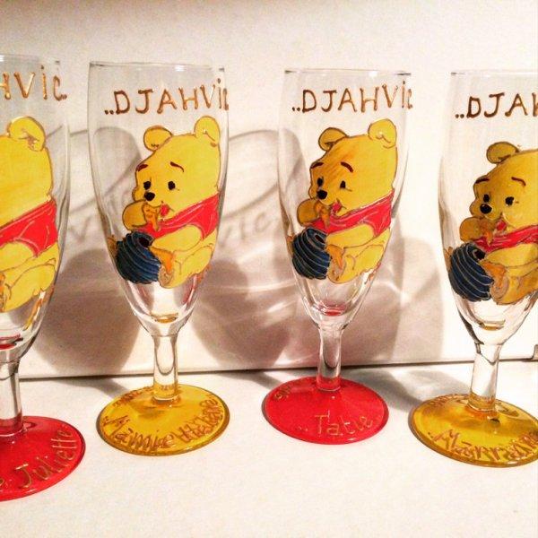 Verres personnalis�s bapt�me - cadeau original -th�me Winnie l'ourson