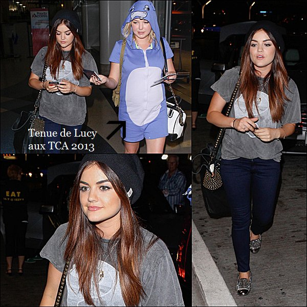 . 11.08.2013 Lucy a l'aéroport de LAX, avec une amie.  Comment trouves-tu sa tenue ?  .