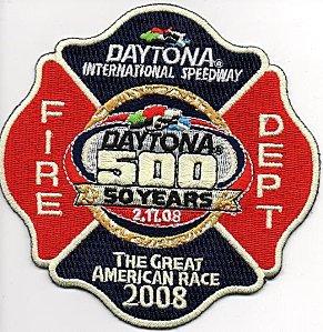 'écusson des pompiers privés du circuit automobile de DAYTONA, USA, commémorant le cinquantième anniversaire (17/02/2008)