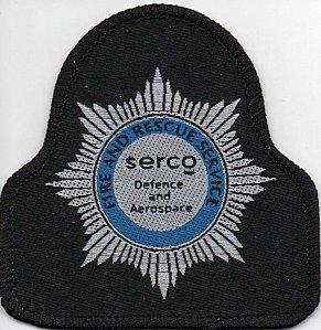 écusson des pompiers privés de la société SERCO, en Angleterre