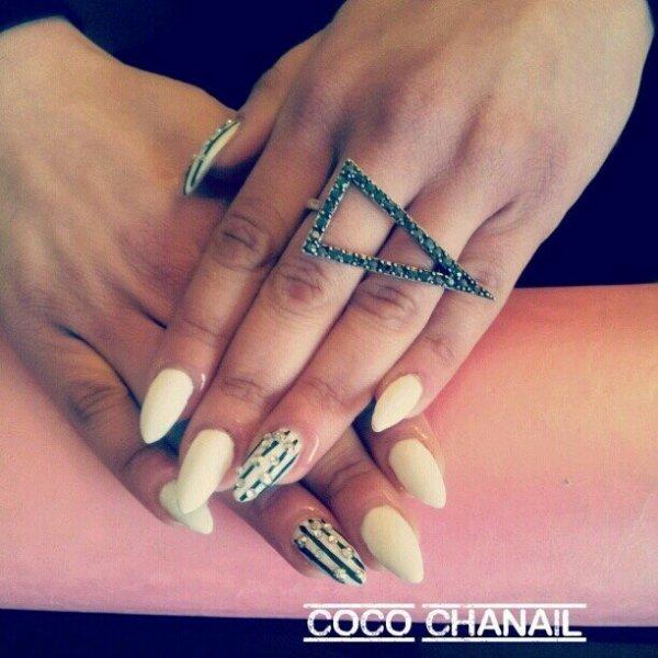 Pose gel au chablon Stiletto nails Coco Chanail Prothésiste Styliste Ongulaire PERPIGNAN