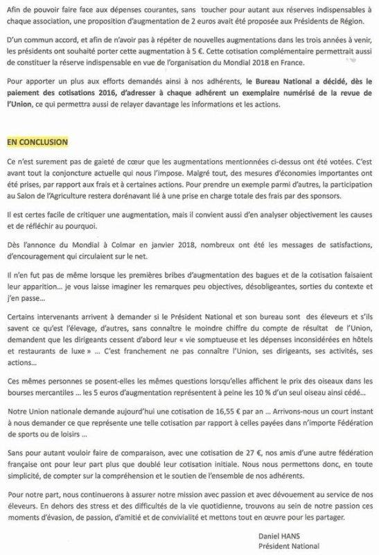 Informations du bureau de l'UOF.