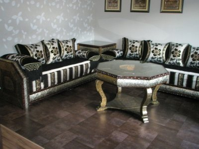 salon biladi tissu noir et blanc 100 oriental. Black Bedroom Furniture Sets. Home Design Ideas