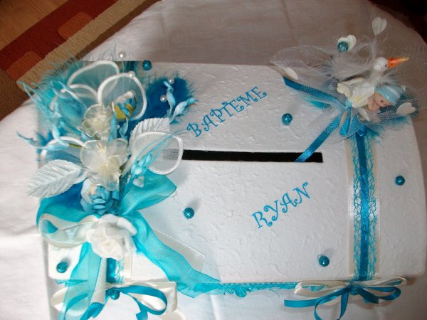 Urne mariage bapt me blanc bleu turquoise la copie n 39 est pas un art juste le fruit - Mariage bleu et blanc ...