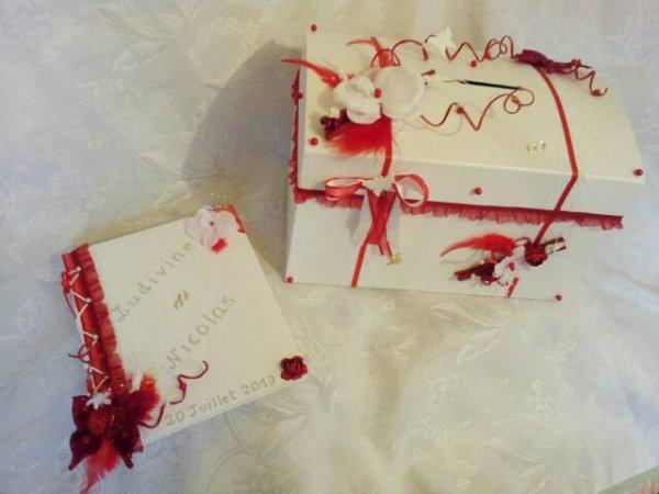 Urne mariage blanc et rouge la copie n 39 est pas un art for Decoration urne de mariage