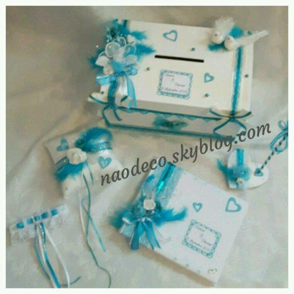 Urne mariage blanc et bleu turquoise la copie n 39 est pas un art juste le fruit - Mariage bleu et blanc ...