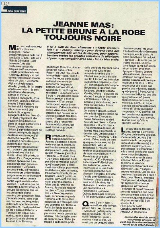 En attendant des news... - D�couvrez cet article de presse (printemps 1985) sur les d�buts de JEANNE !