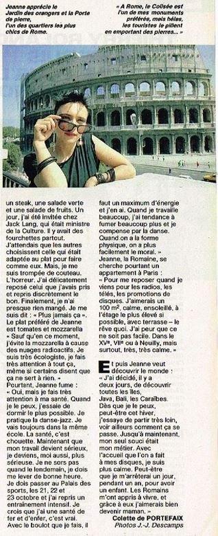 En attendant des news... - D�couvrez cet article de presse (printemps 1986) sur la vie de  JEANNE � ROME !