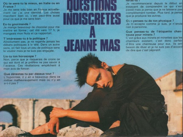 """En attendant des news du nouvel album... - Découvrez cet article de presse de 1984  """"Questions indiscrètes à JEANNE MAS"""""""