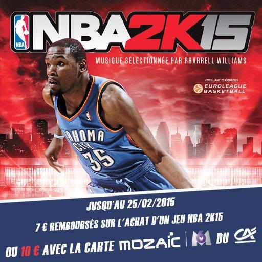 T'aimes la NBA ? Profite dès aujourd'hui des 10¤ remboursés sur le jeu NBA 2K15 !