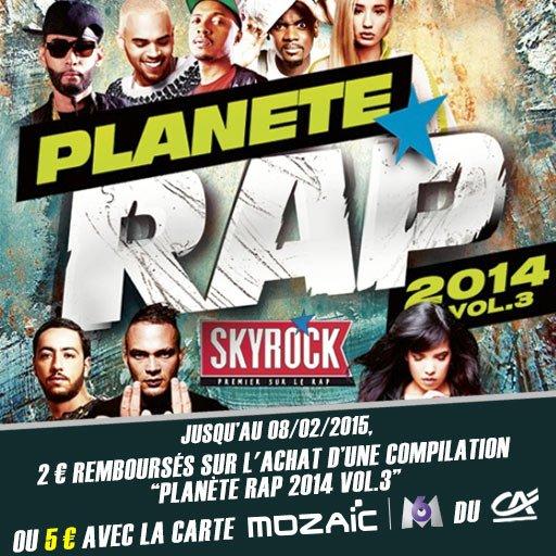 Skyrock Cashback te rembourse jusqu'à 5¤ sur la compil' Planète Rap 2014 Vol.3 !