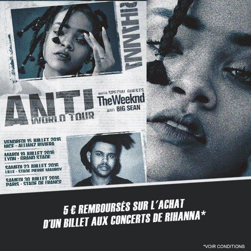 5¤ remboursés sur ta place pour aller voir Rihanna en concert !