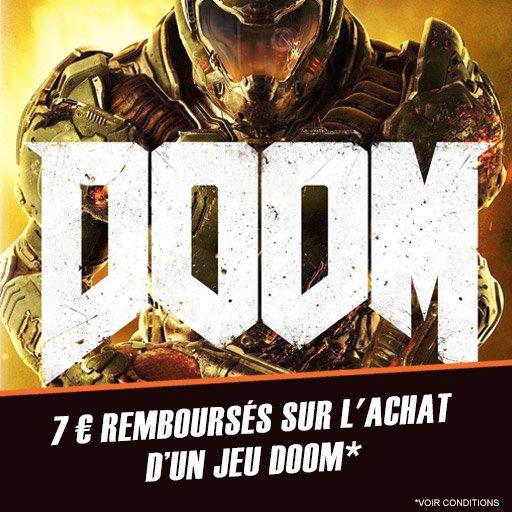 7¤ remboursés sur l'achat du jeu Doom sur PS4 et Xbox One !