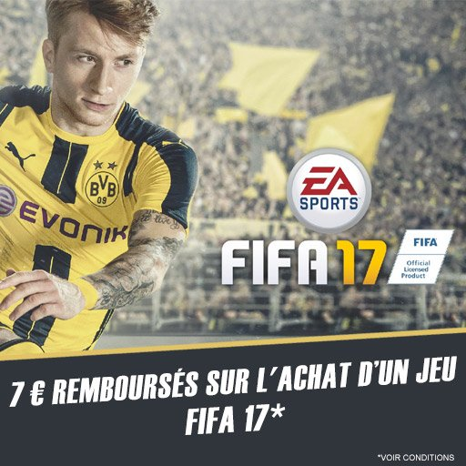 Chope 7� sur l'achat du jeu FIFA 17 via l'appli Skyrock Cashback !