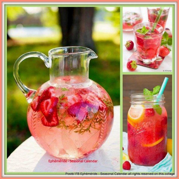 Pensez surtout � vous hydrater  DE CETTE CHALEUR.  'De belles boissons aux fraises