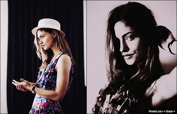 • • D�couvrez/red�couvrez trois superbes clich�s de Phoebe pour des nouveaux shootings ! Premi�rement, notre belle australienne pose pour la marque de v�tements Frame Denim puis pour le magazine Grazia !