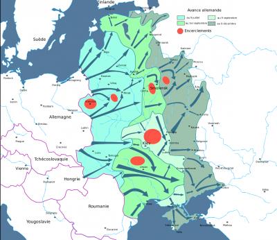 - Carte des étapes de l'opération Barbarossa jusqu'au 5 ( Moscou ) et 9 décembre ( pour le secteur Sud et Rostov ) 1941.