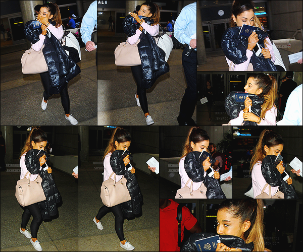 """. 03/07/2015 : Ariana Grande a �t� aper�u par les pap's arrivant � l'a�roport """"LAX"""" qui se situe � Los Angeles. Tr�s peu de sortie pour    Ariana G.  depuis le d�but de sa tourn�e, c'est donc apr�s quelques jours � Rome que nous retrouvons Ariana � l'a�roport.  ."""